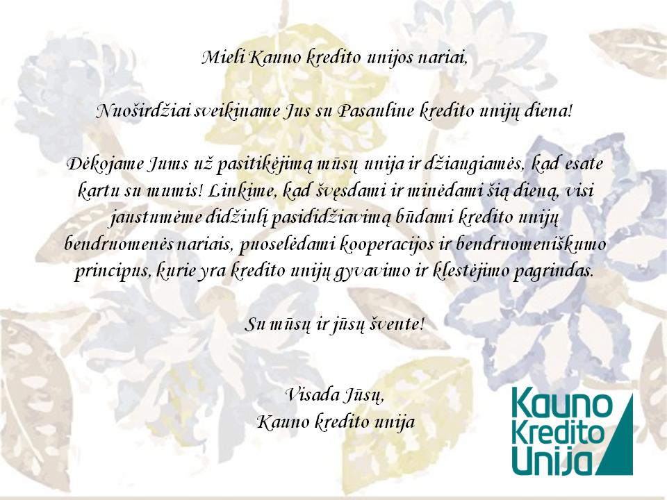 Sveikinimas su kredito unijų diena 2014